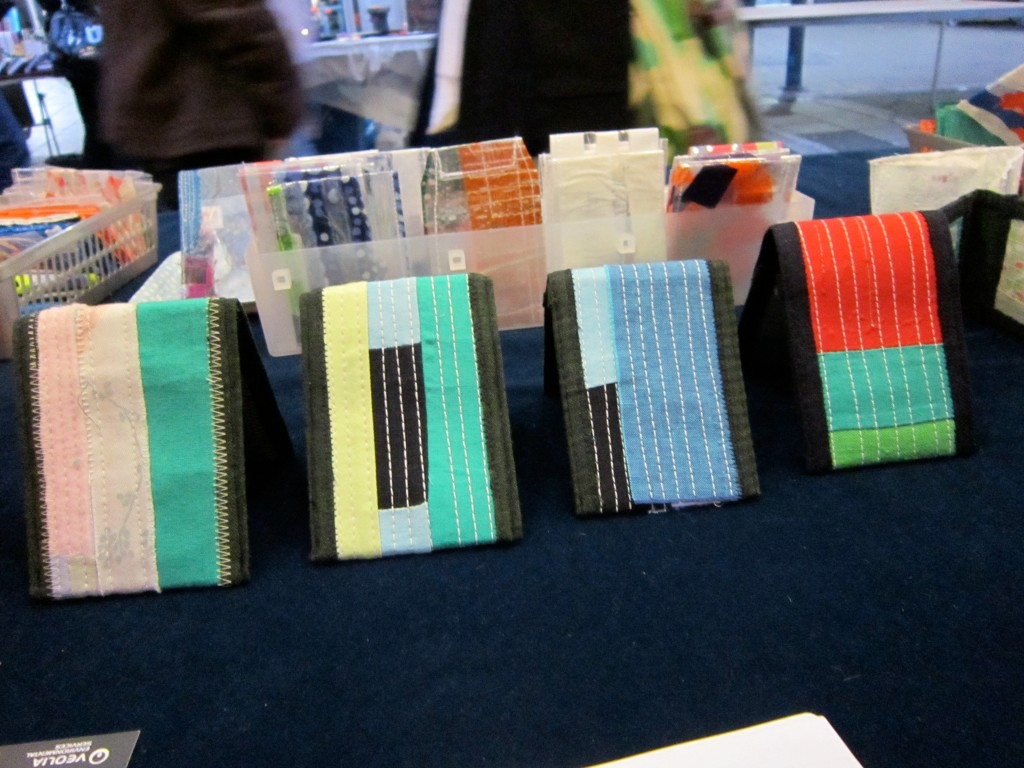patchwork and quilted cloth 'art' oyster card holders © maggie winnall 2011