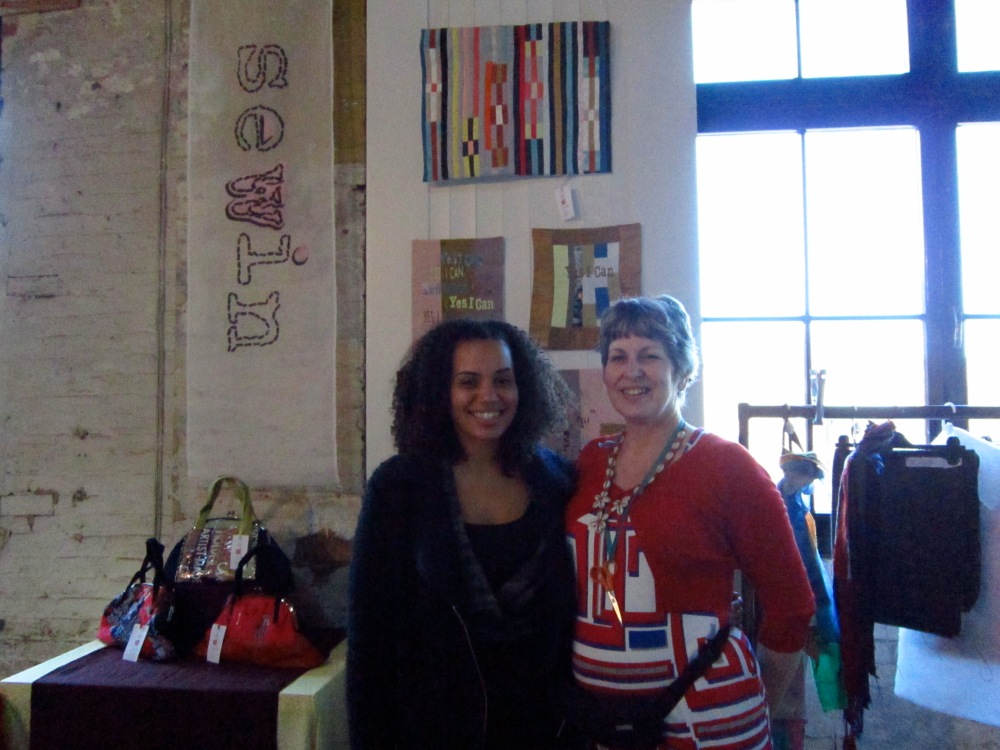 Sewin Studio at Brixton East display of textile art custom made handbags ,workshop and making demos.