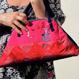 Handmade wearable art handbag in pink and chestnut