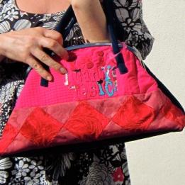 Handmade wearable art handbag in pink and chestnut