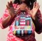 Handmade wearable art handbag in 'basket weave' style quilt block by Maggie Winnall