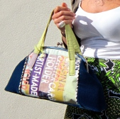 Handmade wearable art handbag in navy and green
