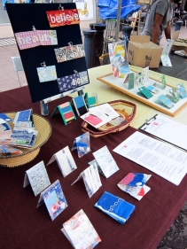 Sewin Studio at Brixton Market with original, one of a kind, affirmative applique Oyster Card wallets by Maggie Winnall