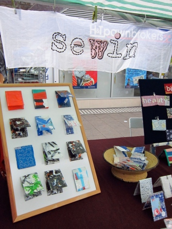 Sewin Studio at Brixton Market with original, one of a kind oyster card wallets by Maggie Winnall