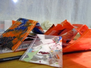 colourful handmade textile art oyster card wallet remade from plastic bags and cloth by maggie winnall-sewin studio