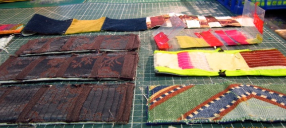 yellopetrol blue, plastic and stitched, printed and quilted oyster card wallet shells in progress to be finished