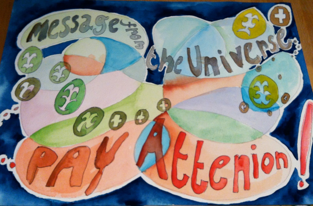Watercolour painting with a New Age theme, featuring text and pure colour values.