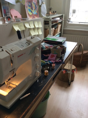 Sewing machine table at Sewin Studio Textile art studio