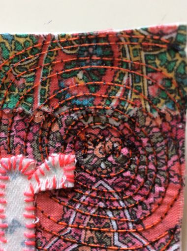 Machine and hand stitched art textile in Sewin Studio