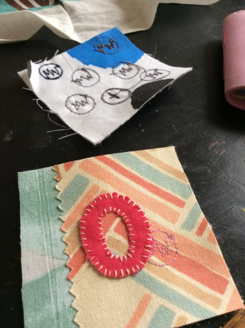 Hand stitched improvisational textile