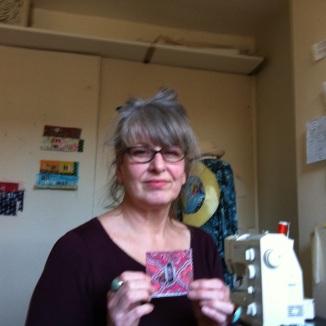 Maggie Winnall with Art textile square in Sewin Studio.