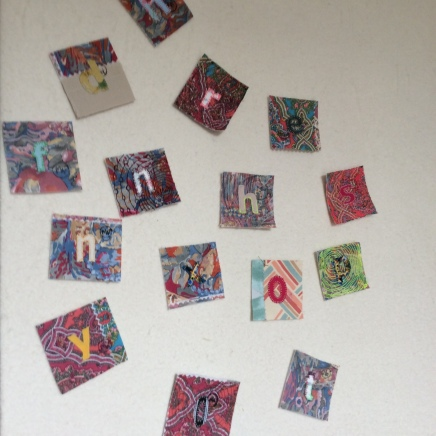 Hand stitched letters for intuitive art textile by Maggie Winnall at Sewin Studio