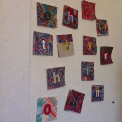 Hand stitched letters for intuitive art textile made at Sewin Studio by Maggie Winnall