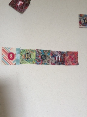 Hand stitched text for intuitive art textile made by Maggie Winnall at Sewin Studio