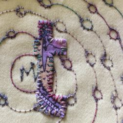 hand and machine stitched intuitive art textile by Maggie Winnall at Sewin Studio