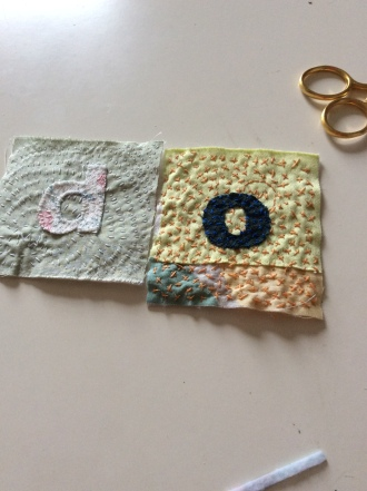 Hand stitched letters for intuitive art textile made by Maggie Winnall at Sewin Studio