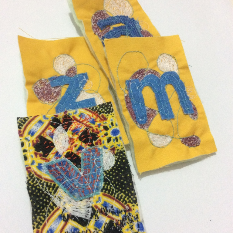 Hand and machine stitched intuitive textile art by Maggie Winnall at Sewin Studio