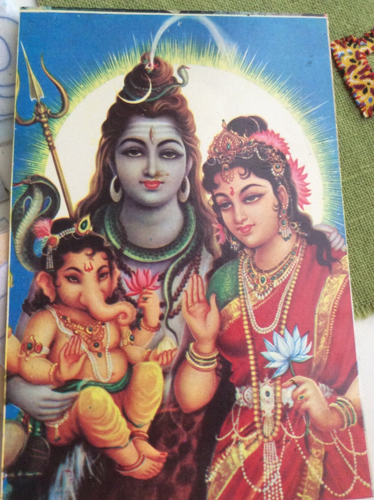 Postcard image of Shiva, Parvati and Ganesha three Hindu deities.
