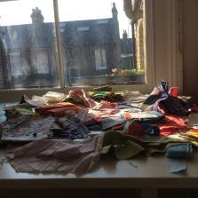 Art studio Work table with fabric at Sewin Studio