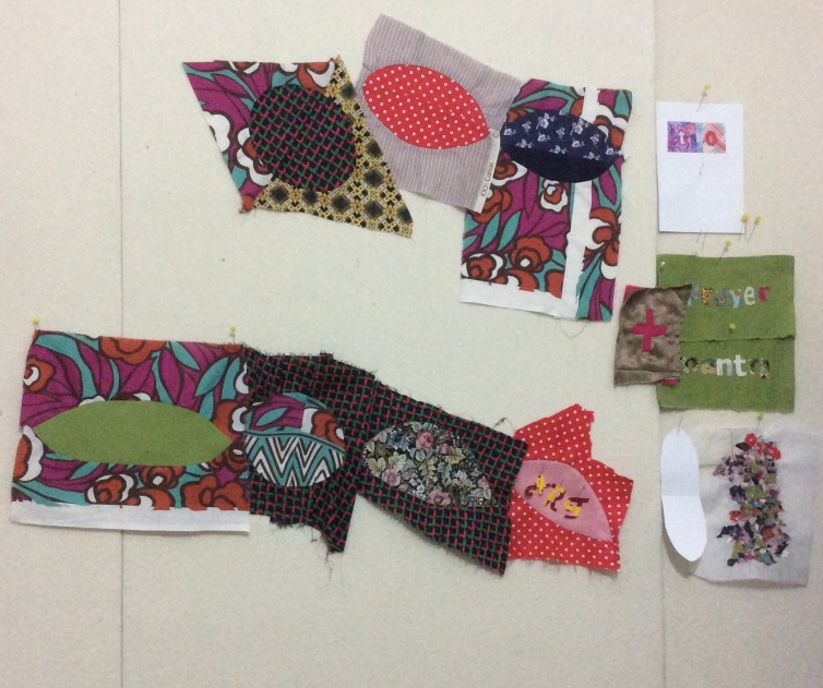 Art studio design wall with pieced fabric curves by Maggie Winnall at Sewin Studio