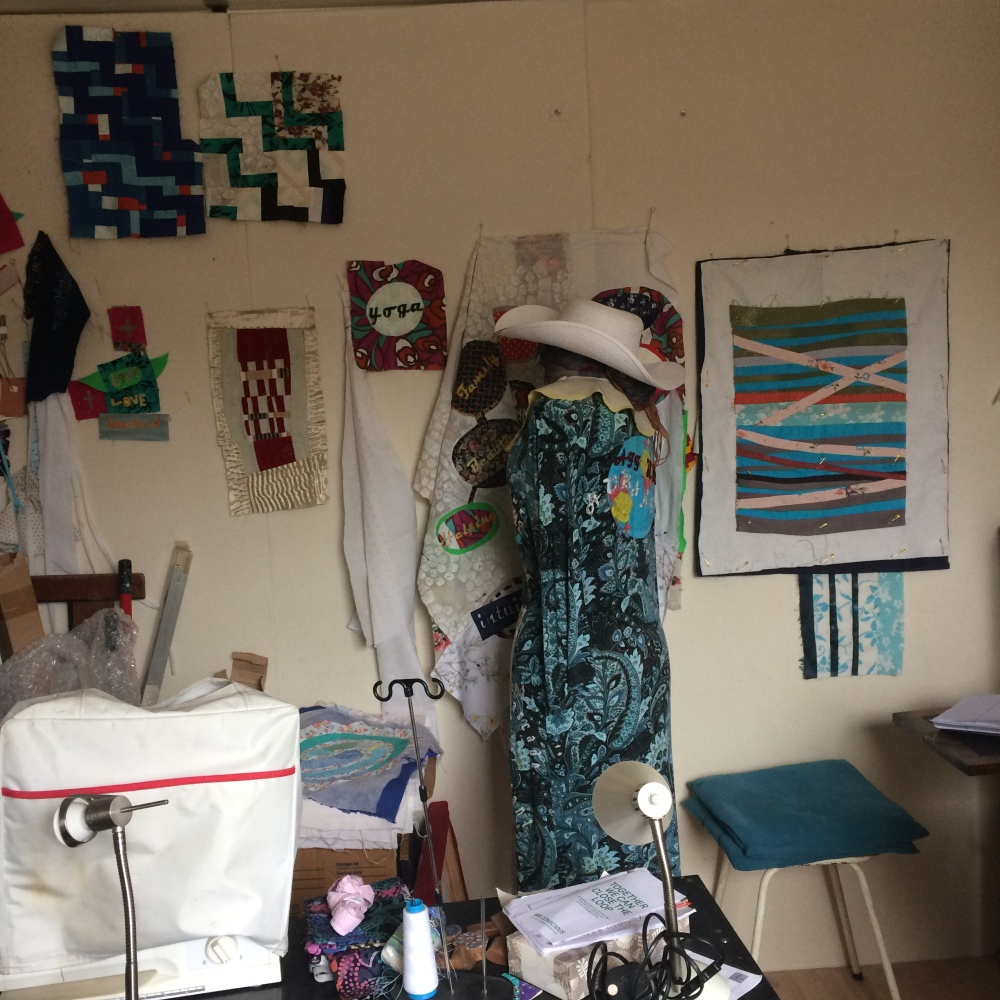 Art Studio Declutter with textile art and quilts
